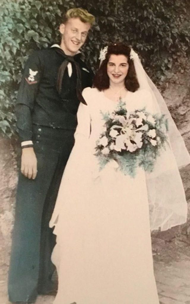 Arthur Alcock in uniform and Marjorie Alcock in wedding dress.