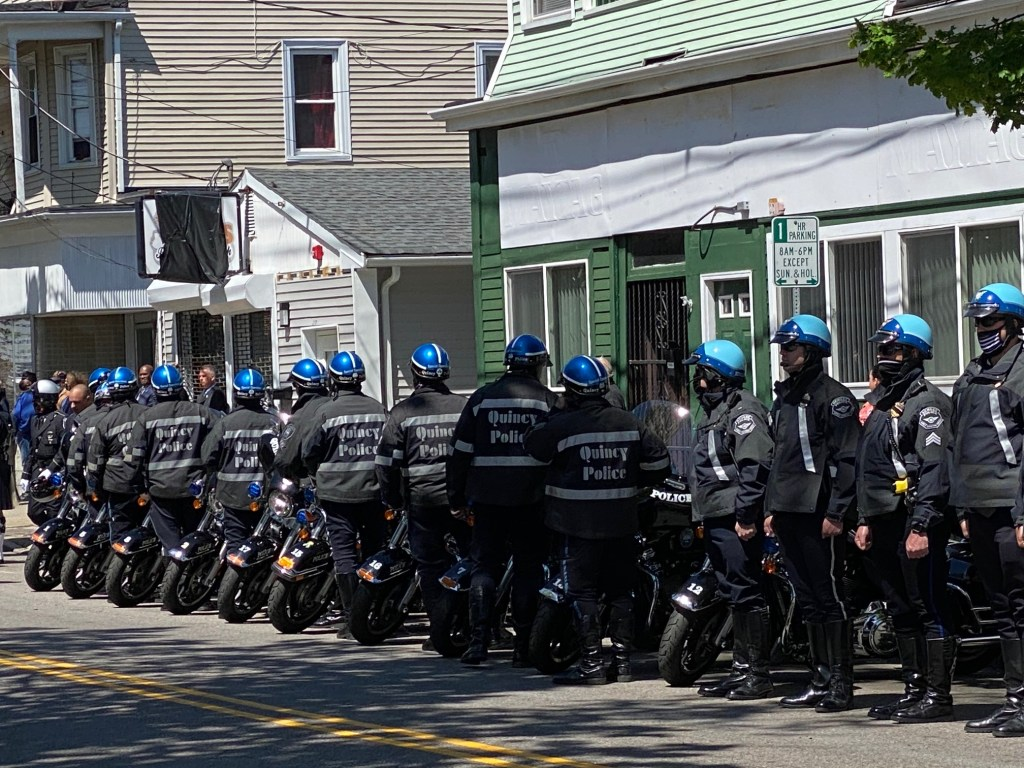 Hundreds of officers and members of the public line up to pay their respects at the funeral for New Bedford Police Sgt. Michael P. Cassidy.
