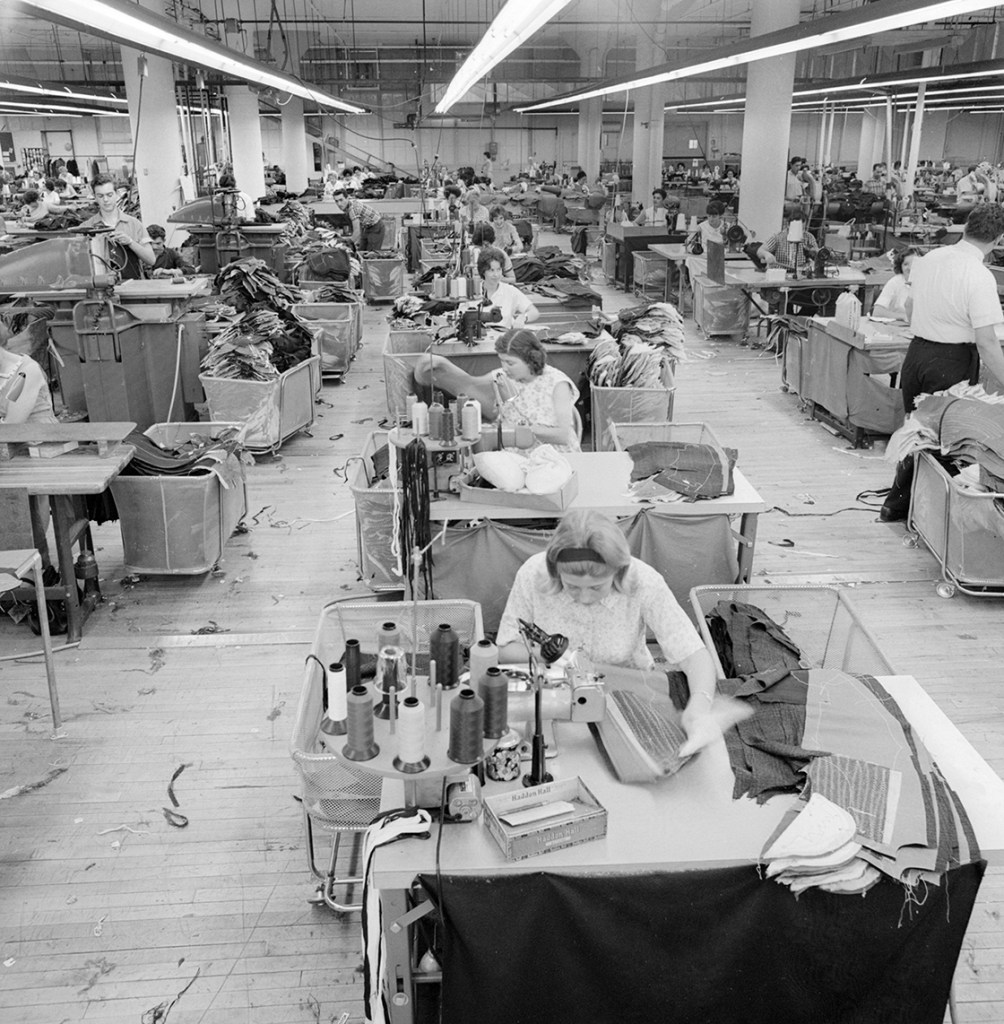 Textile workers on the floor at Cliftex Clothing Manufacturing in New Bedford in the 1960s.