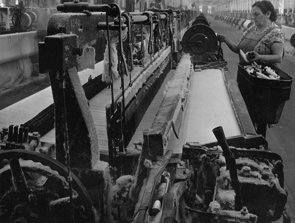Worker at Wamsutta Mills in 1954.