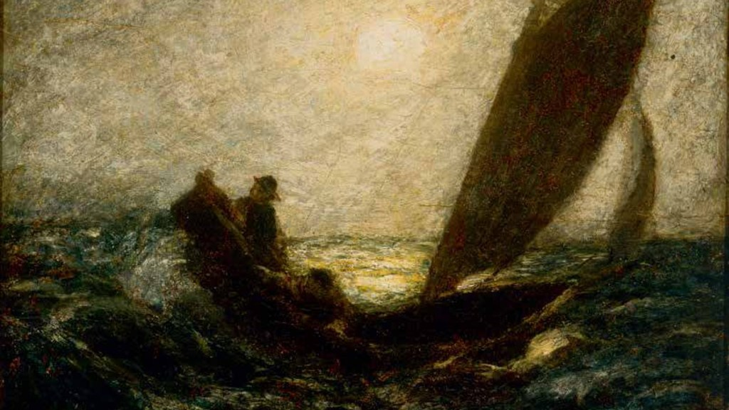 """""""With Sloping Mast and Dipping Prow"""" by Albert Pinkham Ryder."""