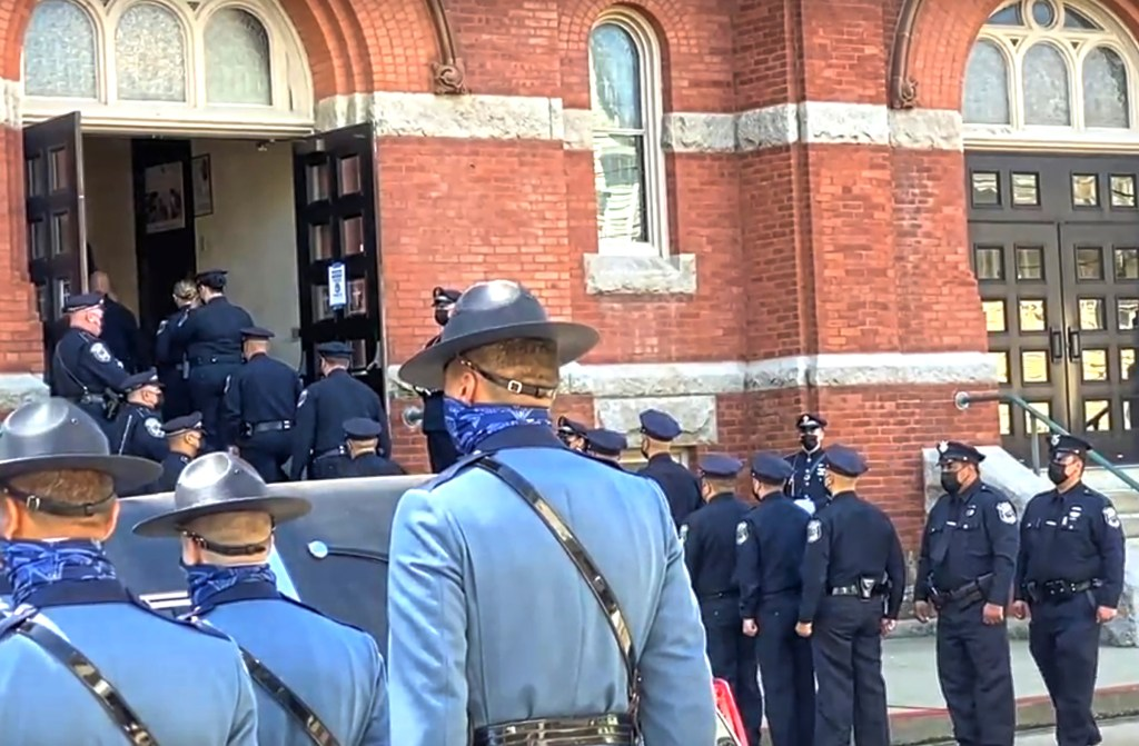 A sea of police officers outside Mount Carmel Church for Sgt. Mike Cassidy's funeral.