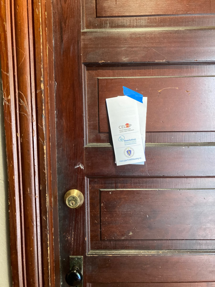 Pamphlets taped to door of tenant facing eviction.