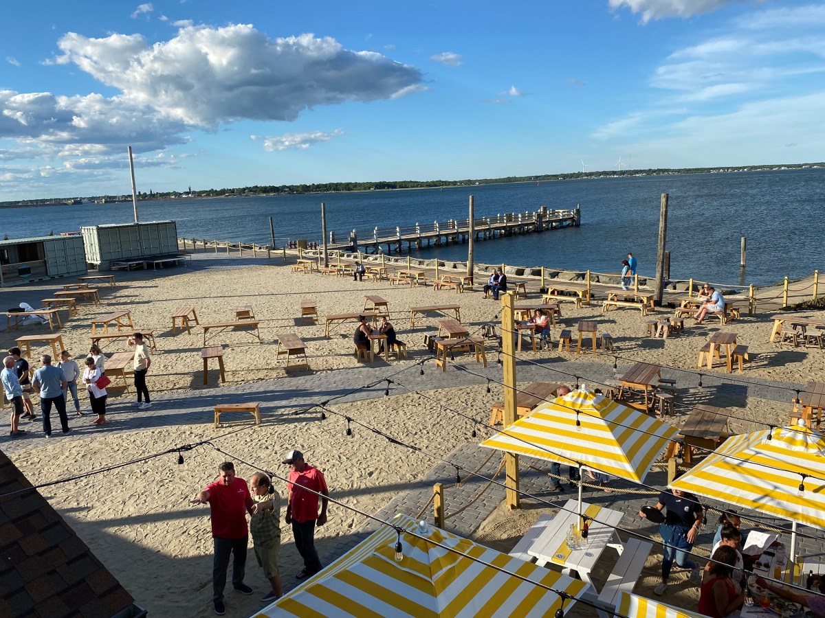 Cisco Brewery patio on the beach in New Bedford.