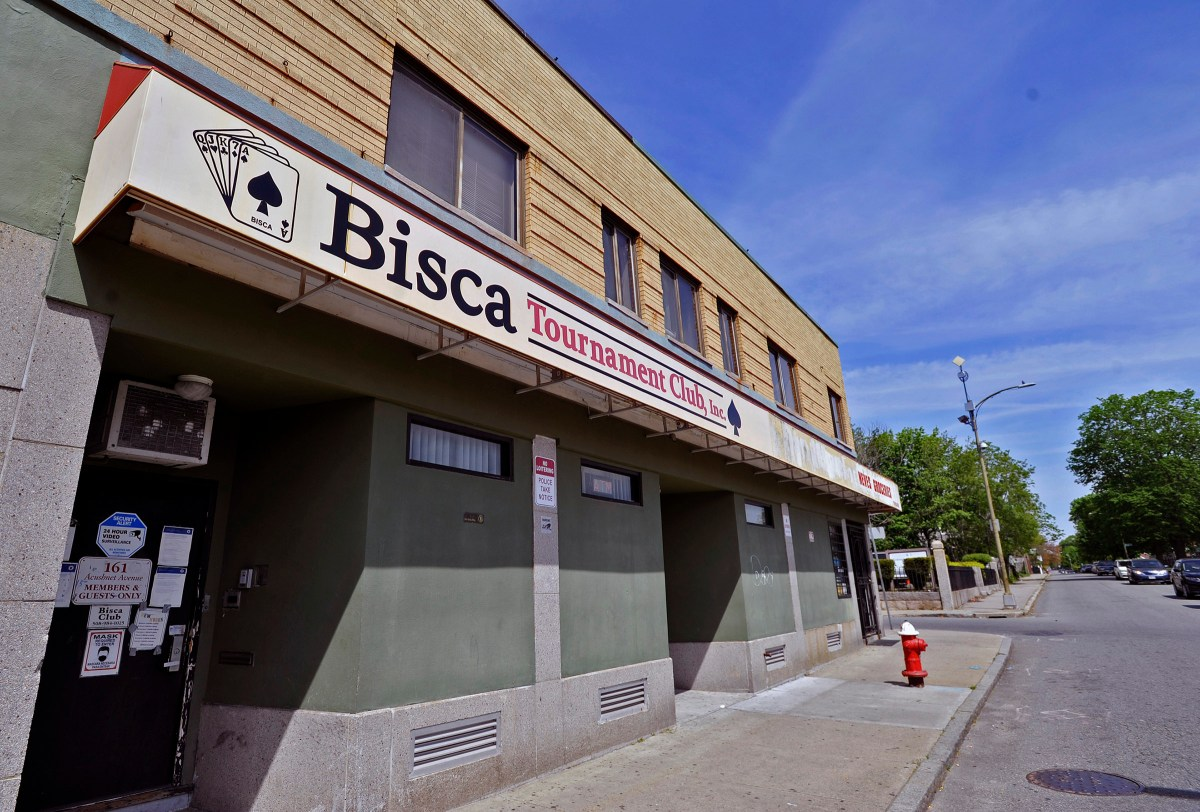 Exterior of the Bisca Club in New Bedford.