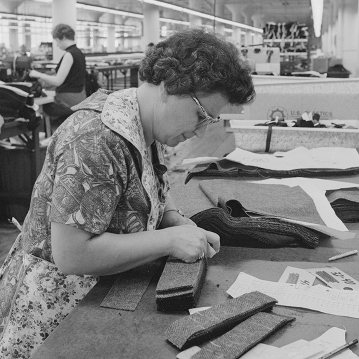 Mid-1960s photo inside Cliftex Clothing Manufacturing in New Bedford.