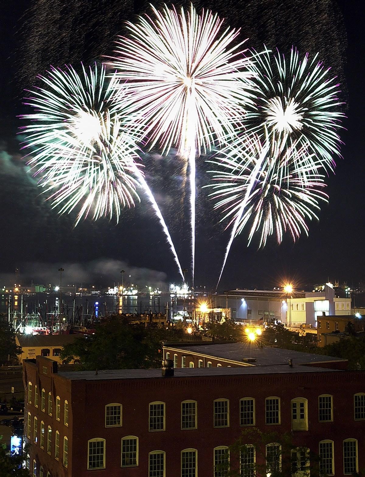 Fireworks light up the sky over New Bedford.