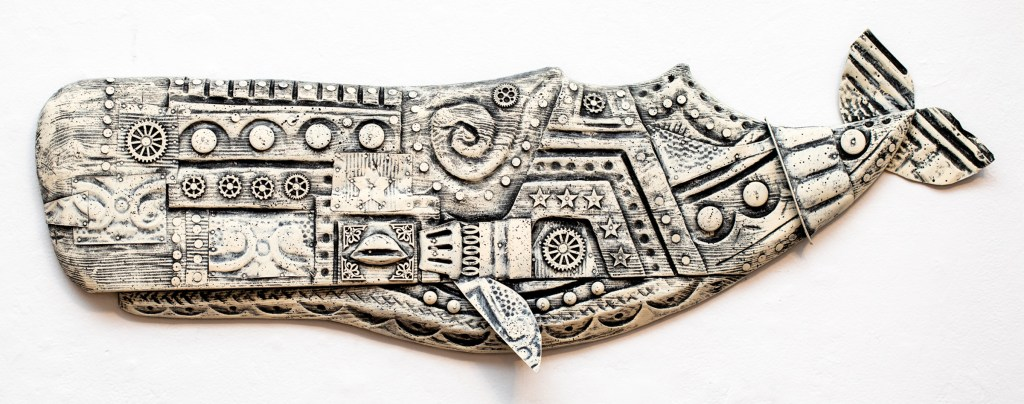 """""""Moby Punk"""" by Joe Rego, an Intricate whale carving from """"The Moby Show"""" at Gallery X."""