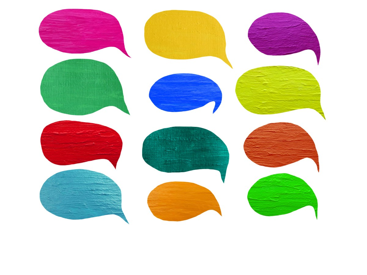 Colorful splashes of paint shaped like speech bubbles.
