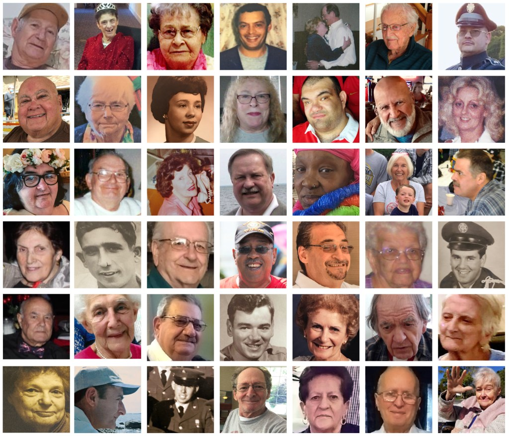 Collage of New Bedford people who died in COVID pandemic featured in memorial.