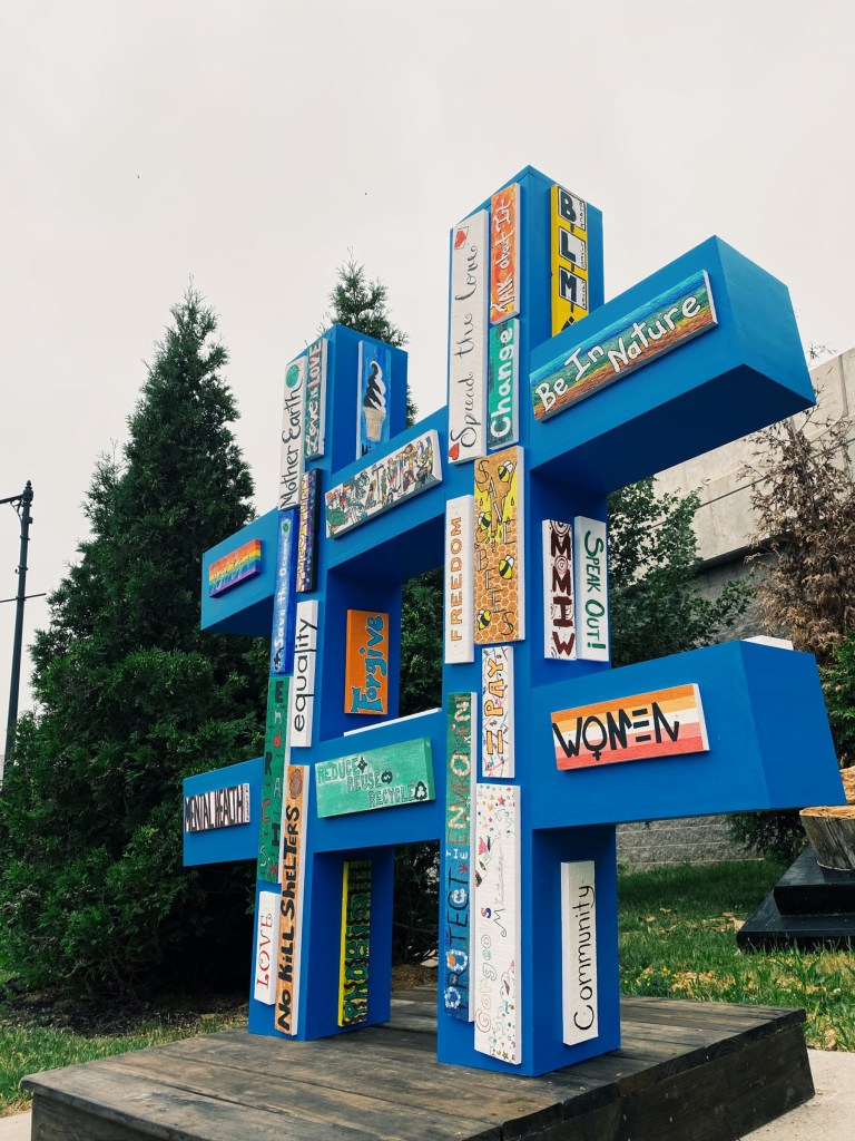"""Alanna Boucher - """"Hashtag Change"""" located at the Corner of Elm Street and Route 18."""