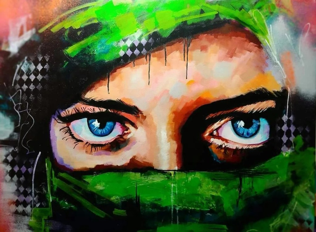 Lydia Broderick painting features close-up of a person's eyes.