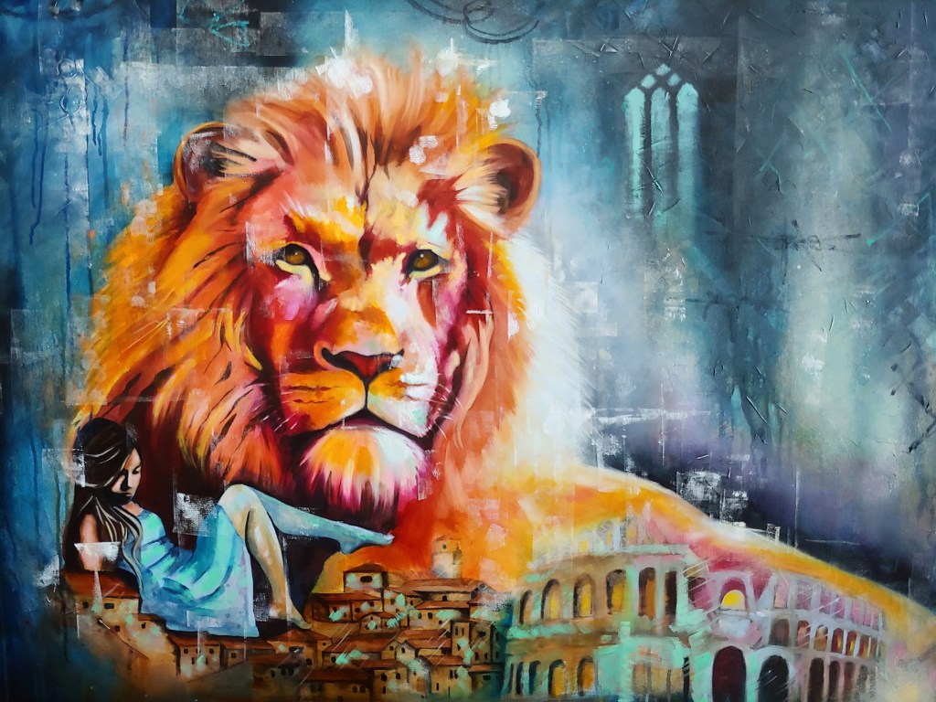 Lydia Broderick painting featuring lion, woman, coloseum and ancient cityscape.