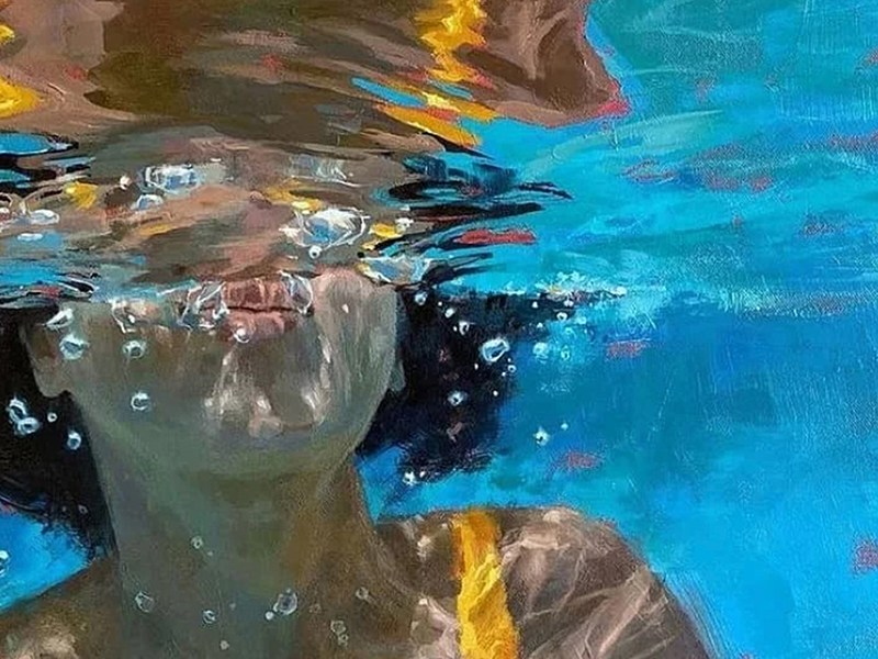 """From Michele Poirier-Mozzone's """"Fractured Light"""" series of paintings of swimmers."""