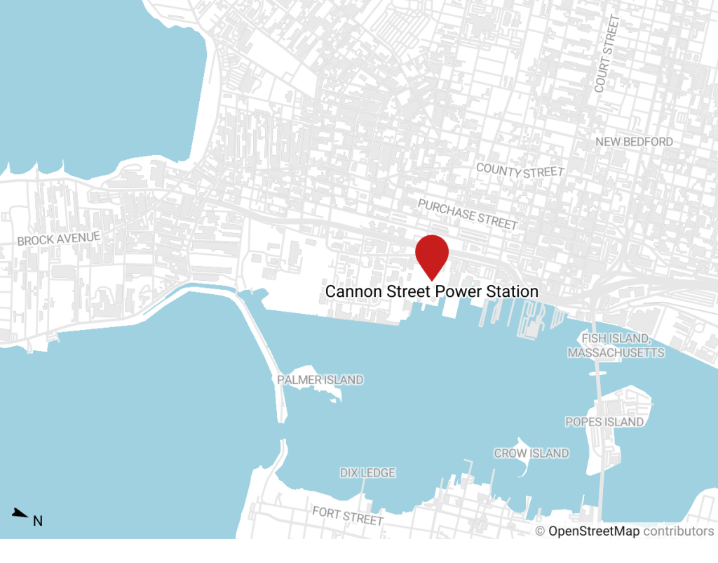 Map showing location of planned off-shore wind staging site.