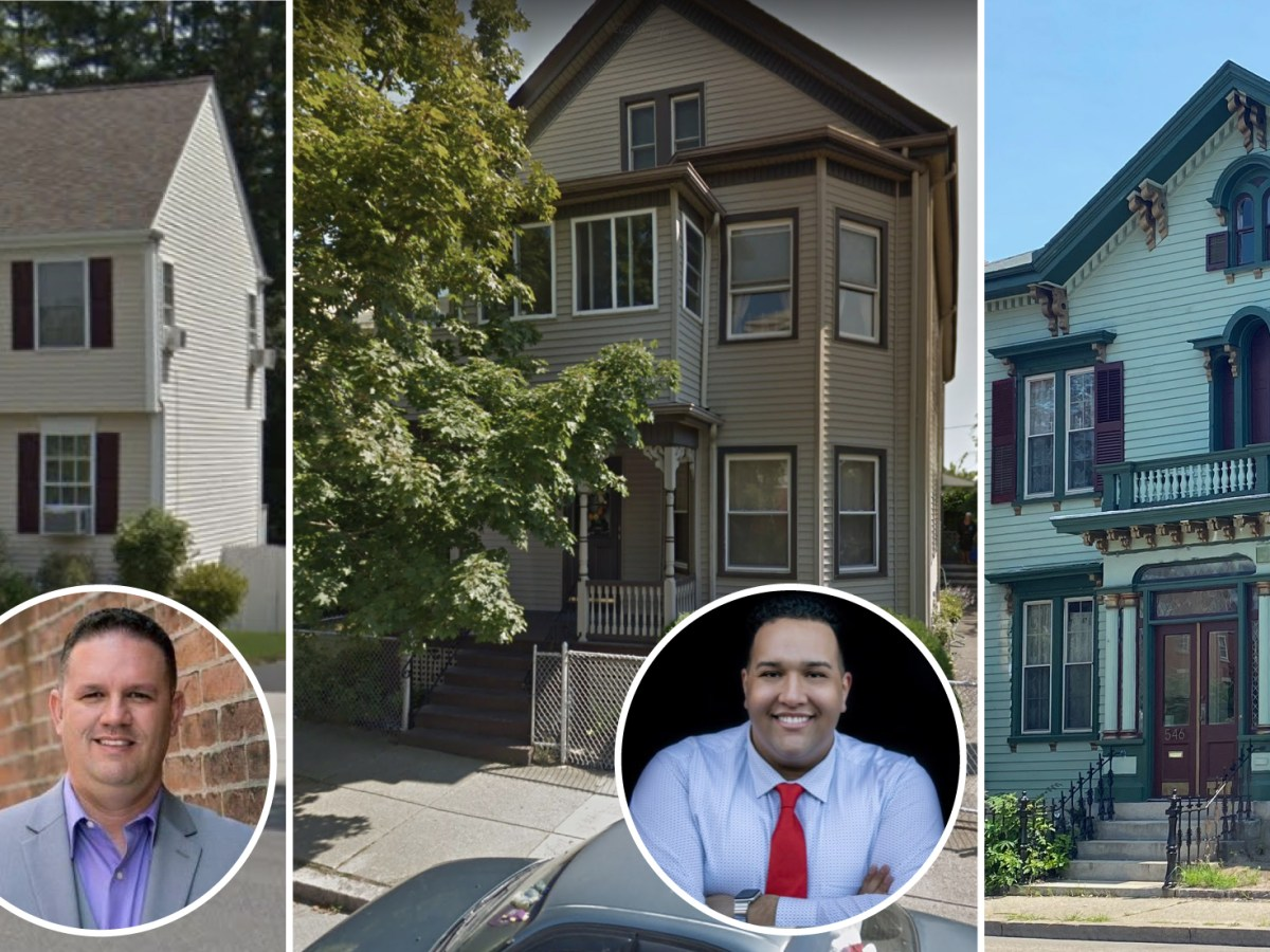 Triptych of at-large councilor candidates Jason Mello, Shane Burgo, and Lisa White and their houses.