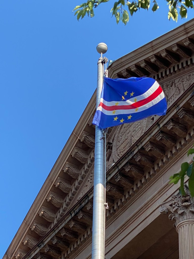 The flag of Cabo Verde flew in front of New Bedford City Hall during the week of June 27 in honor of Cape Verdean Recognition Week.