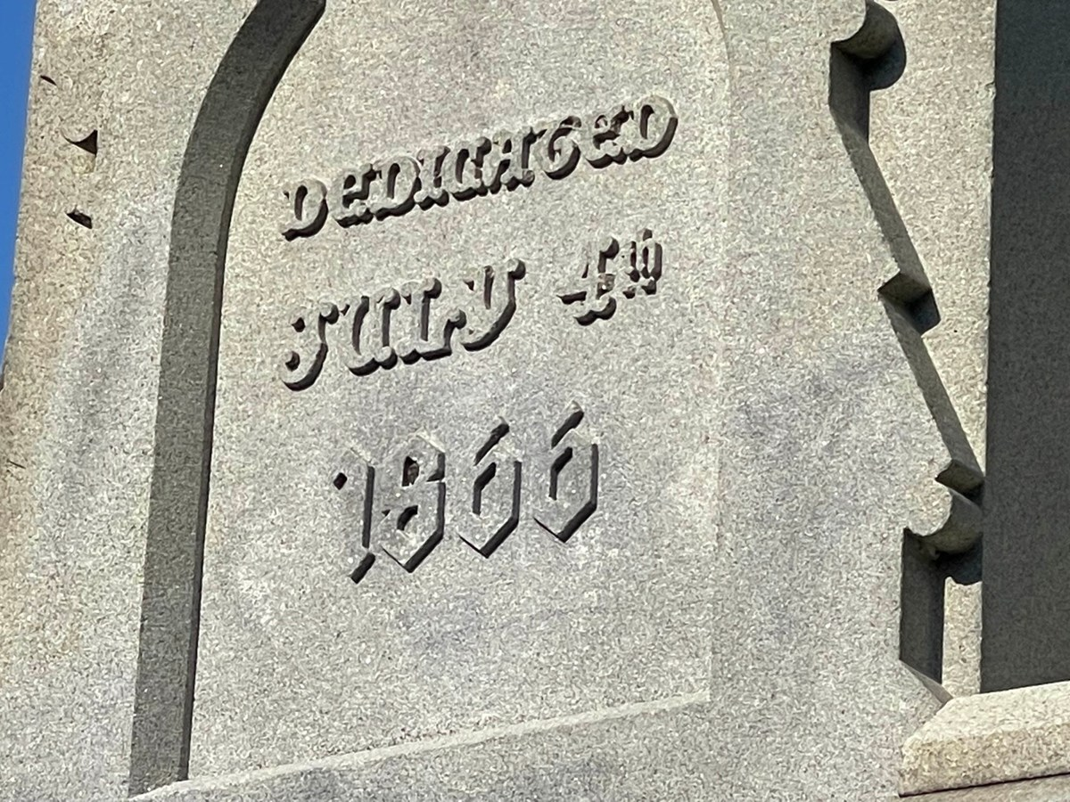 Inscription on Civil War monument: Dedicated July 4th 1866.