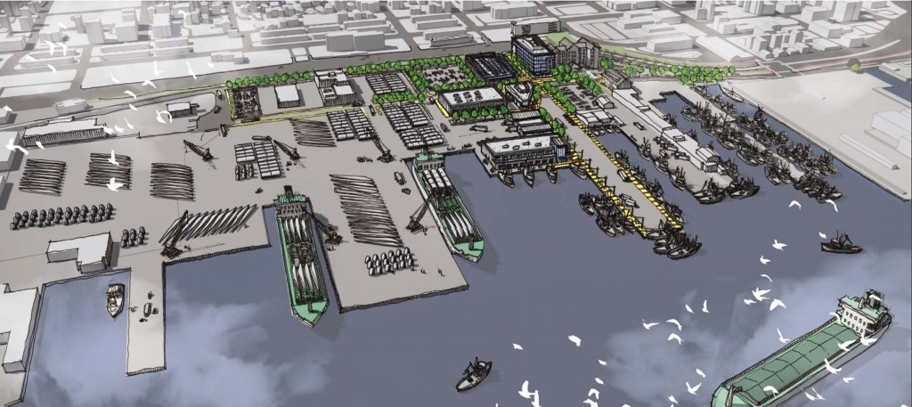 Architectural rendering of offshore wind project planned for 30 acres surrounding Cannon Street Power Station in New Bedford.