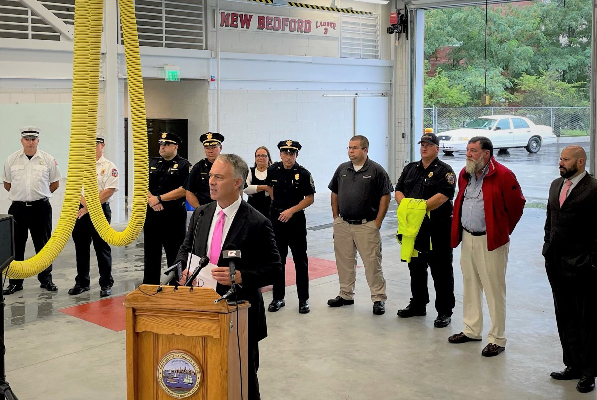 Mayor Jon Mitchell speaks at opening for South Public Safety Center.
