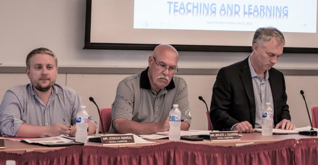Josh Amaral, Bruce Oliveira, Jon Mitchell at July 12 School Committee meeting.