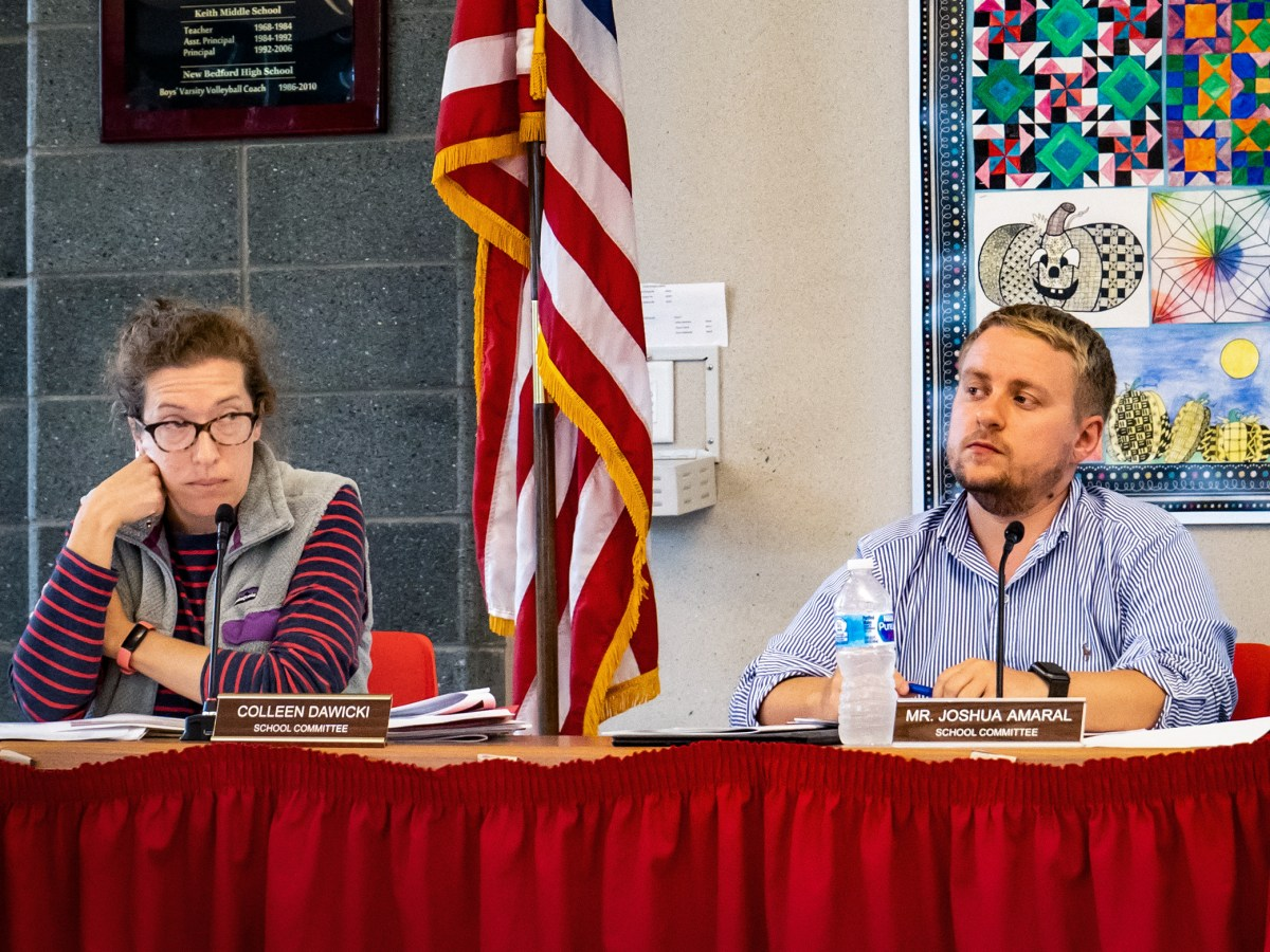 Colleen Dawicki and Josh Amaral at a recent New Bedford School Committee meeting.