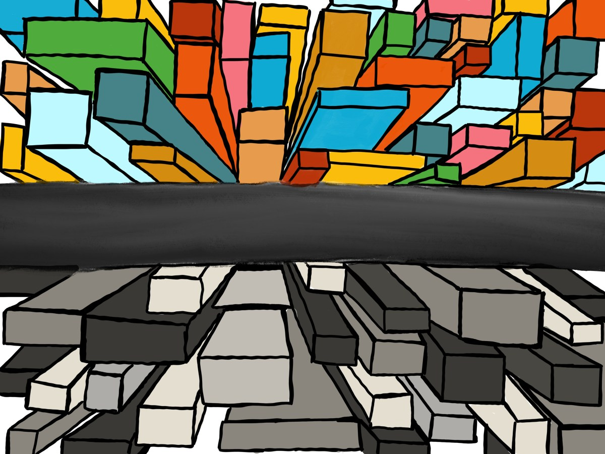 Illustration of colorful and black-and-white buildings divided by road representing income inequality.